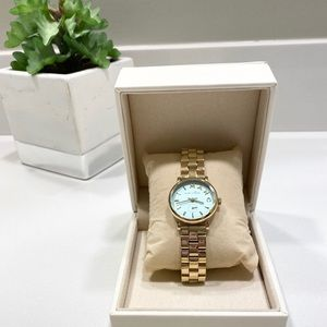 Marc Jacobs Baker Gold and Teal Watch